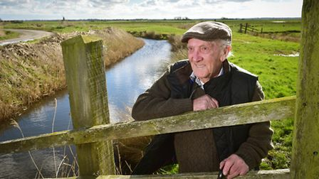 Billy Lacey,90, on Halvergate marshes . Billy is one of the last Marsh men that lived and worked on