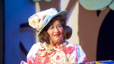 """Maureen Larkin in this year's Panto """"Pinocchio"""" in the role of Rosa,friend and sidekick of the dame."""