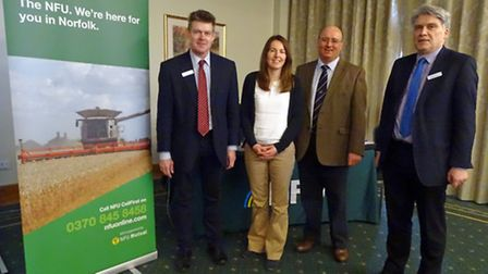 National Farmers' Union BPS meeting at Barnham Broom. Pictured from left: Keith Wellings (RPA), NFU