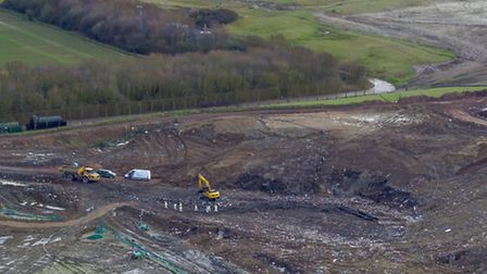 Drone image of police searching a landfill site in Cambridgeshire as police continue to search for C