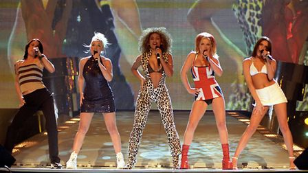 The Spice Girls performing on stage at the Brit Awards ceremony in London in 1997. Photo: Fiona Hans