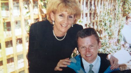 Jacqui Page with son Simon at his graduation. He later committe suicide and Mrs Page is starting up