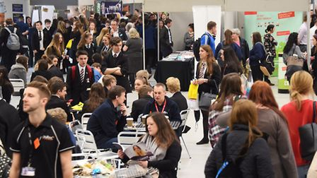 Crowds of Norfolk schoolchildren at the Skills and Careers Festival at the Norfolk Showground. Pictu