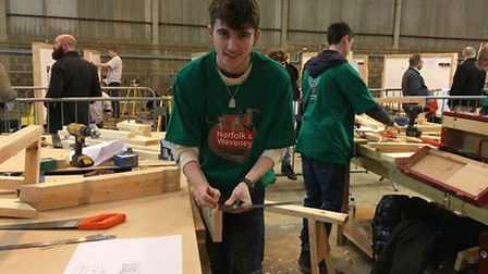 Apprentice carpenter Jack Goodrum, 18, taking part in the skills competition at the Norfolk skills a