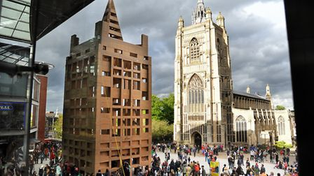 The People's Tower, a cardboard replica of St Peter Mancroft Church, which was built for the Norfolk