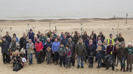 The beach clean volunteers at the start of the event in Southwold. Pictures: COURTESY OF ADNAMS