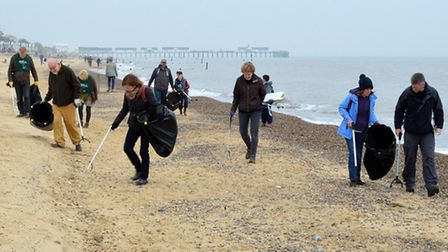 The beach clean volunteers during the litter pick in Southwold. Picture: MICK HOWES