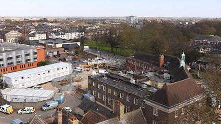 The Police Station in King's Lynn, viewed from the roof of Greyfriars Tower. Picture: Ian Burt