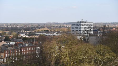 The College of West Anglia in King's Lynn, viewed from the roof of Greyfriars Tower. Picture: Ian Bu