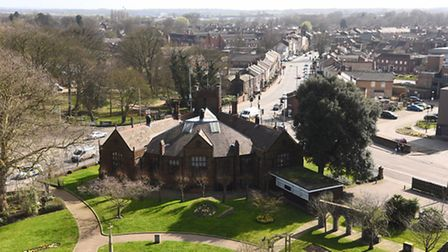 The Library and London Road in King's Lynn, seen from the roof of Greyfriars Tower. Picture: Ian Bur