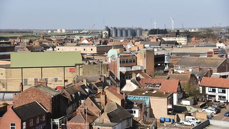 King's Lynn town centre seen from the roof of Greyfriars Tower. Picture: Ian Burt