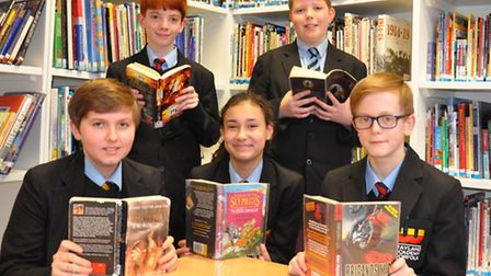 From left to right, Wayland Academy pupils Josh Gore, Freddy Strange, Bridie Stratton, Jude Poole an