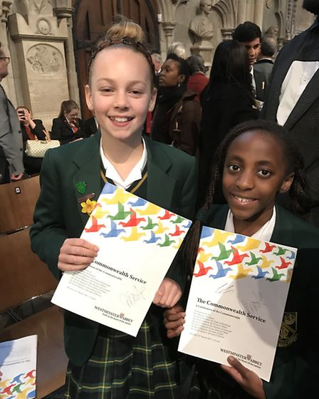 St Felix trip to Westminister Abbey Commonwealth Day service - Imogen Whyte and Noni Thole (both Yea