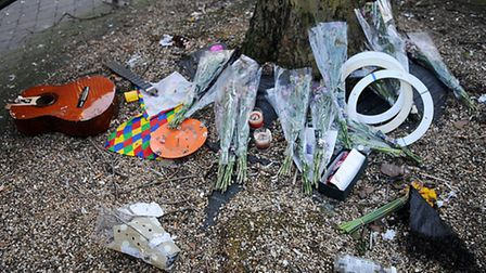 The shrine to street entertainer Juggling Jim, which has been vandalised. Picture: Chris Bishop