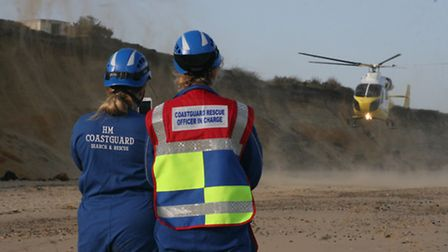 A man is airlifted to hospital after he was injured near Southwold. Pictures: HM COASTGUARD LOWESTOF