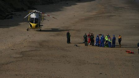 Emergency services were called out after a man was injured near Southwold. Pictures: HM COASTGUARD L