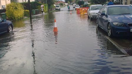 Flooding in Furze Road. Pic: Norfolk County Council.