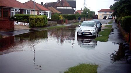 Flooding in Hillcrest Road, Thorpe St Andrew. Pic: Norfolk County Council.