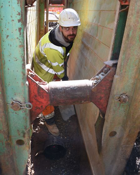 Engineering work to prevent surface water flooding at Thunder Lane. Gheorghe Ofrim <correct> in the