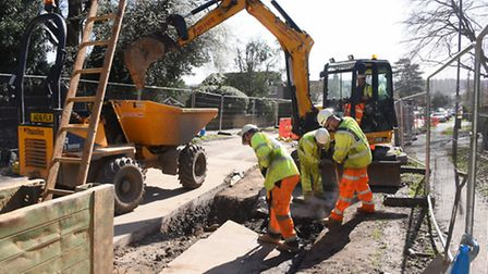 Engineering work to prevent surface water flooding at Thunder Lane. Picture: DENISE BRADLEY