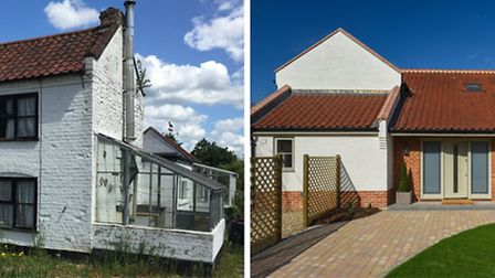 White Cottage in Saxlingham before and after renovation. Photos: Courtesy of Brooks Residential