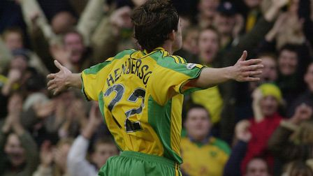 Ian Henderson celebrates scoring against Millwall at Carrow Road= in November 2003. Picture: Nick Bu