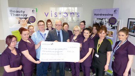 The cheque is presented to the Mind representatives Picture: Great Yarmouth College