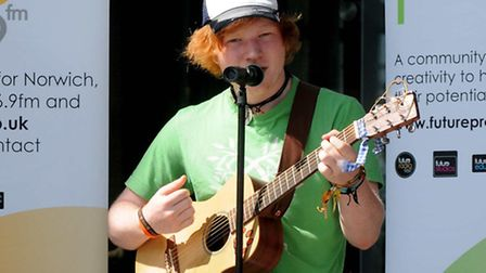 Double Brit Award winner Ed Sheeran singing outside The Forum in Norwich to launch the Next Big Thin