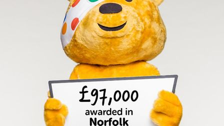 Pudsey Bear celebrates the funding handed out to the two charities Picture: BBC Children in Need