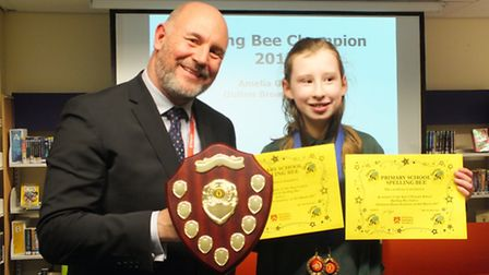 The fifth Lowestoft primary schools spelling bee contest. Overall winner Amelia Graham from Oulton B