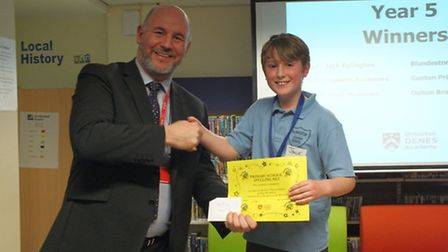 The fifth Lowestoft primary schools spelling bee contest. Year five first place, Jack, from Blundest