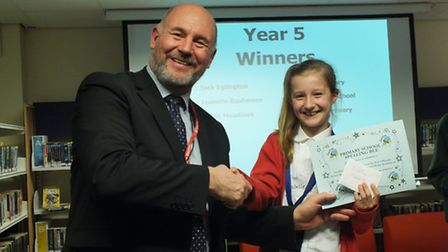 The fifth Lowestoft primary schools spelling bee contest. Isabelle, from Gunton Primary, was second