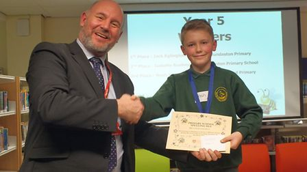 The fifth Lowestoft primary schools spelling bee contest. Noah, from Oulton Broad Primary, took thir