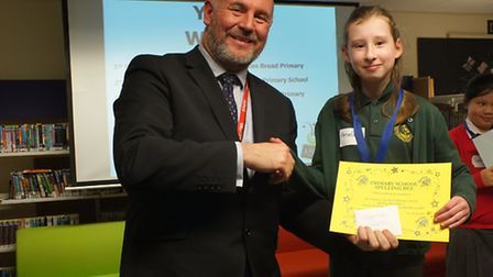 The fifth Lowestoft primary schools spelling bee contest. Year six winner Amelia, from Oulton Broad