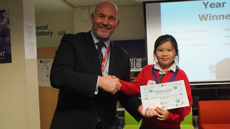 The fifth Lowestoft primary schools spelling bee contest. Year six second place Sophie, from Gunton