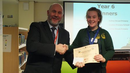 The fifth Lowestoft primary schools spelling bee contest. Year six third place Molly, from Oulton Br