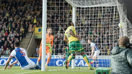 Cameron Jerome of Norwich City scores against Blackburn Rovers during the Sky Bet Championship match