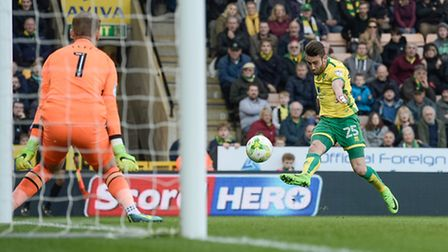 Ivo Pinto of Norwich City shoots towards goal against Blackburn Rovers during the Sky Bet Championsh