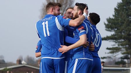 Jake Reed celebrating with Shaun Bammant, Rory Mcauley and Nico Cotton. Picture: Shirley D Whitlow.