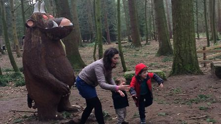 Sally and sons playing games with a Gruffalo