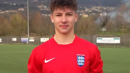 Harry Whayman in Rome in the England Colleges kit. Picture: Easton & Otley College
