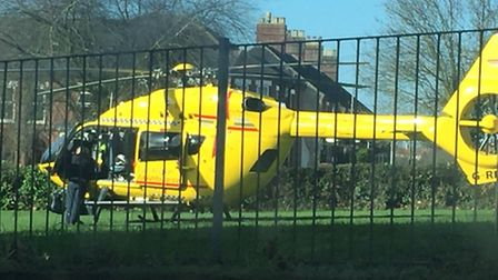 The air ambulance in Sewell Park in Norwich on Wednesday, March 15. Picture: Mark Winhall @MarkWinha