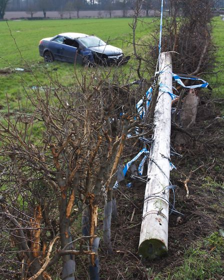 The car, following the accident with the telephone pole by Norwich Road in Carleton Forehoe. Picture