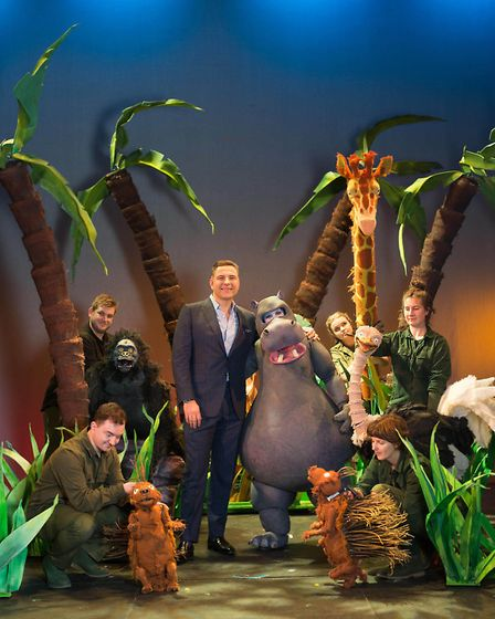 David Walliams (centre) on stage with the cast of The First Hippo on the Moon, an adaptation of his