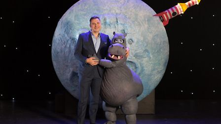 David Walliams with Alice Bounce who plays Sheila on the stage of The First Hippo on the Moon , an