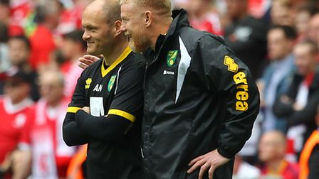 Gary Holt, front, alongside Alex Neil at Wembley in May 2015. The first-team coach left the club las