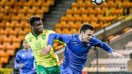 Michee Efete, left, is likely to be in action for Norwich City U23s against Fulham this afternoon.