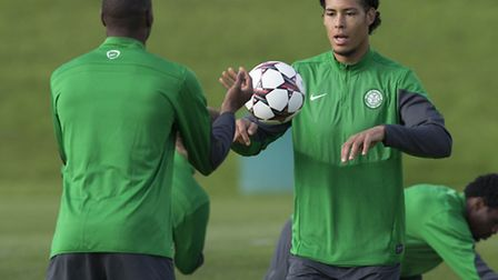 Virgil Van Dijk during a training session while with Celtic. Picture: PA