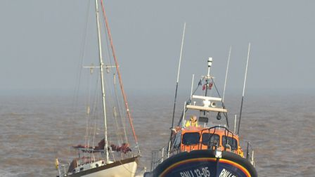 Yacht with engine failure is successfully towed into Lowestoft by Lowestoft's RNLI lifeboat. Picture