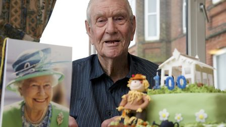 George Smith on his 100th birthday. Picture: Mark Bullimore.